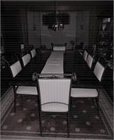 """Pedestal Dining table (48x96"""") - marble chip top with eight chairs"""